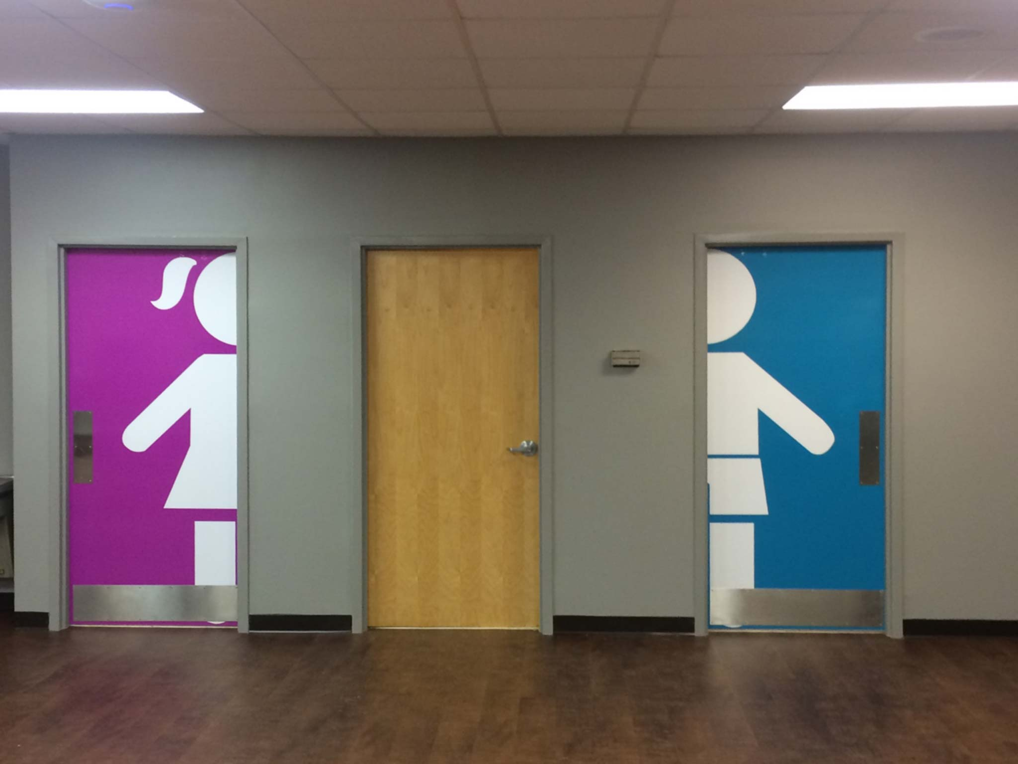 The Rock Church Restroom Doors