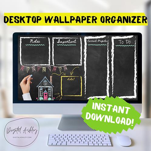 Chalkboard Desktop Organizer Wallpaper