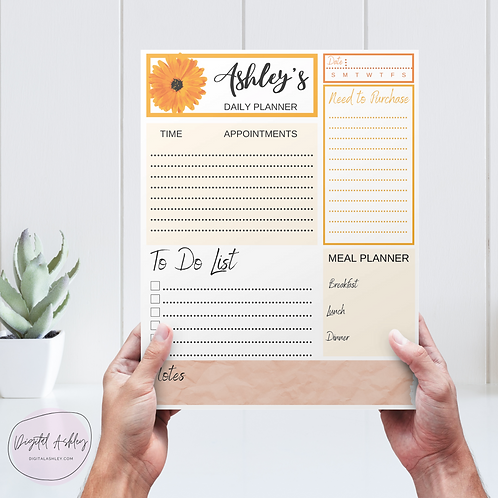 Personalized Sunflower Notepad Planner Page