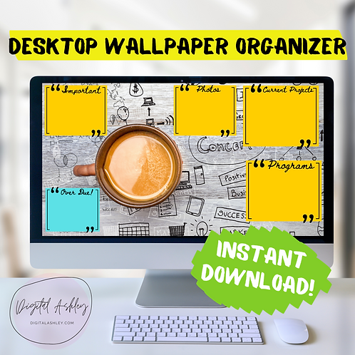 Coffee Notes Desktop Organizer Wallpaper