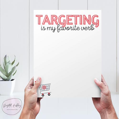 Targeting is my Favorite Verb Printable Notepad Page