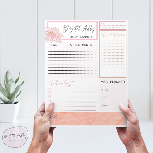 Personalized Lotus Notepad Planner Page