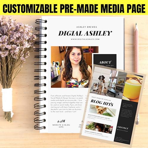 Chic Modern Minimalist 2 Page Pre-Made Layout Customized Media & Press Kit
