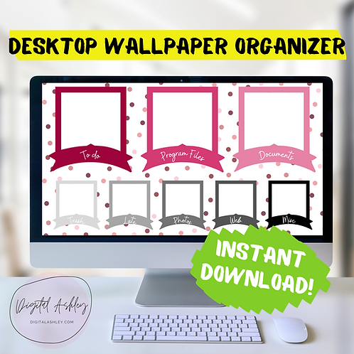 Polka Dot Banner Desk Organizer Desktop Organizing Wallpaper