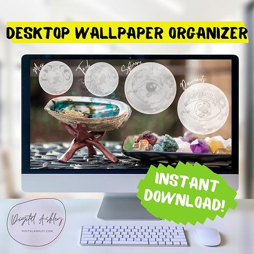 Gemstones and Moon Metaphysical Organizing Desktop Wallpaper