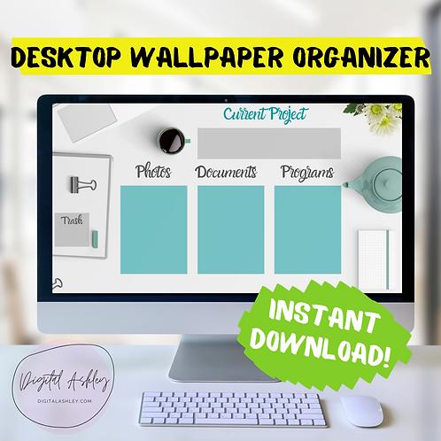 Simple Teal Desktop Organizer Wallpaper