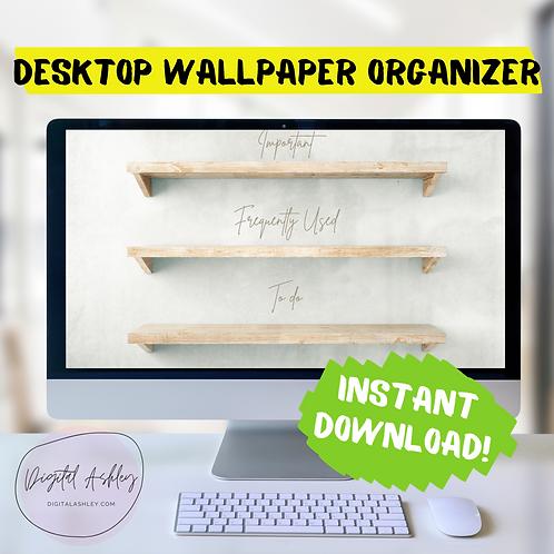 Minimalist Wood Shelf Desk Organizer Desktop Wallpaper