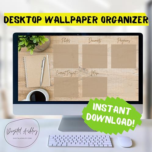 Natural Wood Desk Desktop Organizer Wallpaper