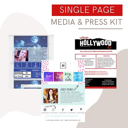 Single Page Customized Media & Press Kit