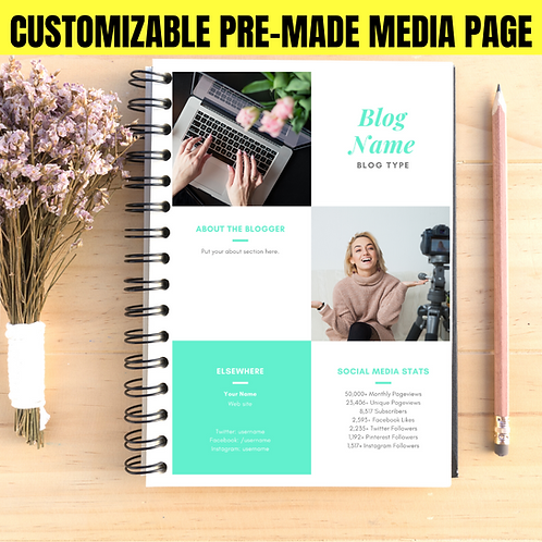 Mint Block Single Page Pre-Made Layout Customized Media & Press Kit