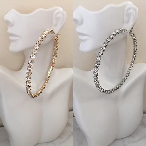 Oversized rhinestone hoop earrings