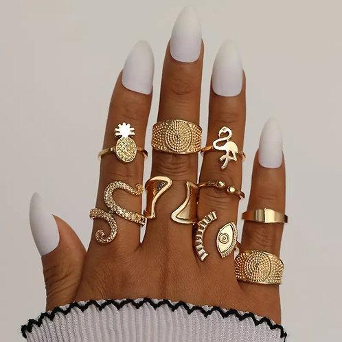 Nince piece ring set