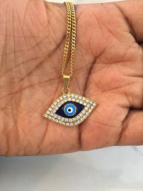 Rhinestones eye necklace