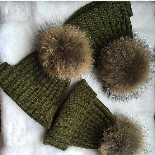 Army green Pom hat