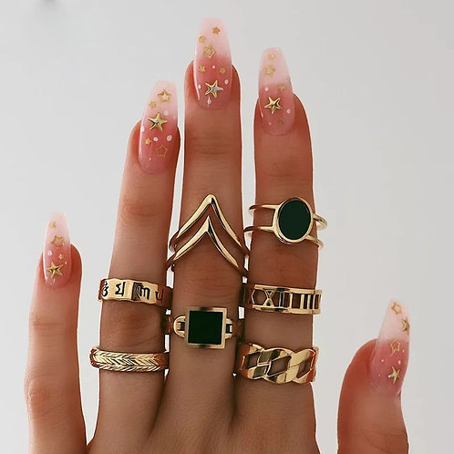 Seven piece ring set