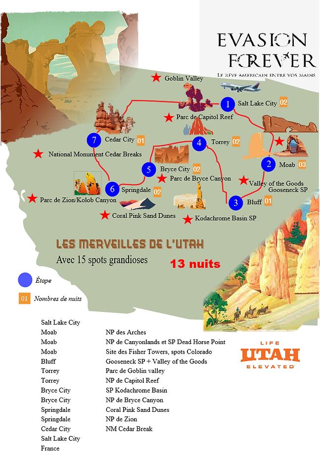 Carte circuit les merveilles de l'Utah.p