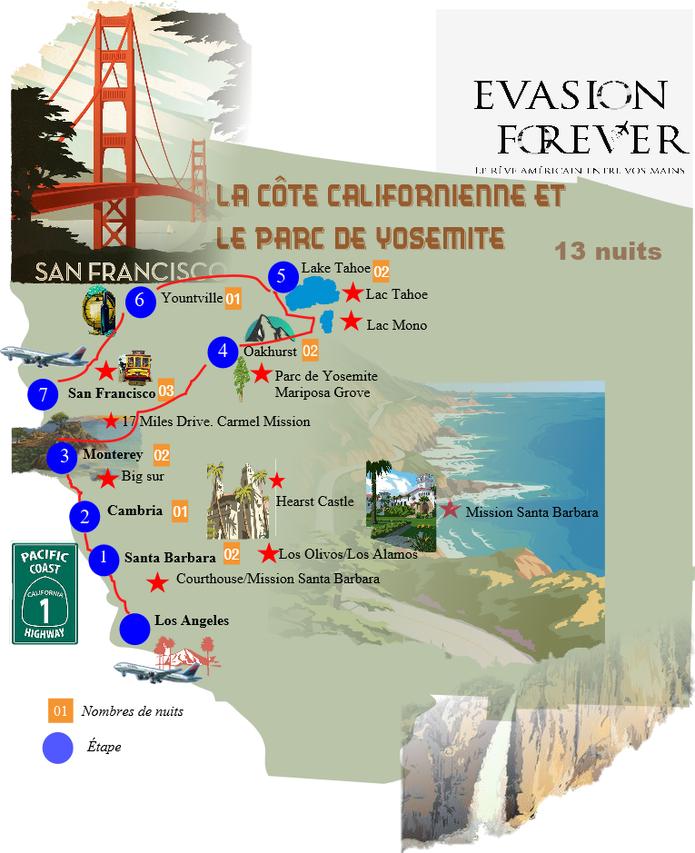 New Carte circuit la côte californienne