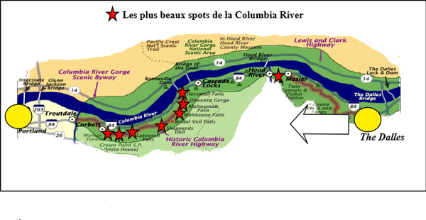 Circuit des gorges de la Columbia River.