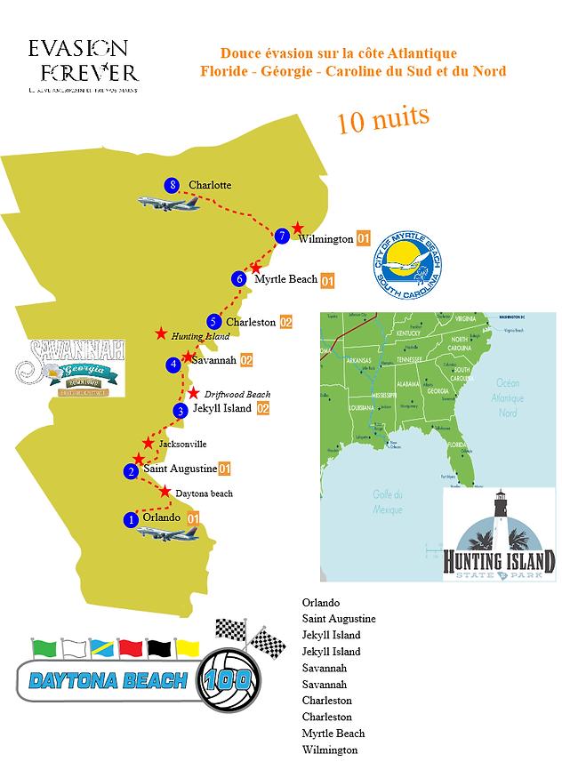 Circuit accompagné avec chauffeur - Douce evasion sur la côte atlantique - Caroline du sud et du nord avec evasion forever