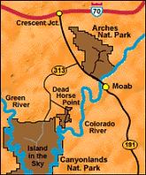 Plan des parcs de la région de Moab en Utah
