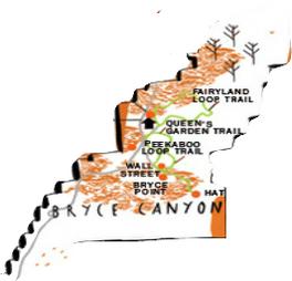 Carte des principaux trails du National Park de Bryce Canyon