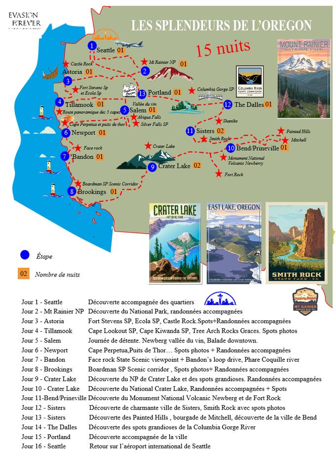 Carte circuit les splendeurs de l'Oregon