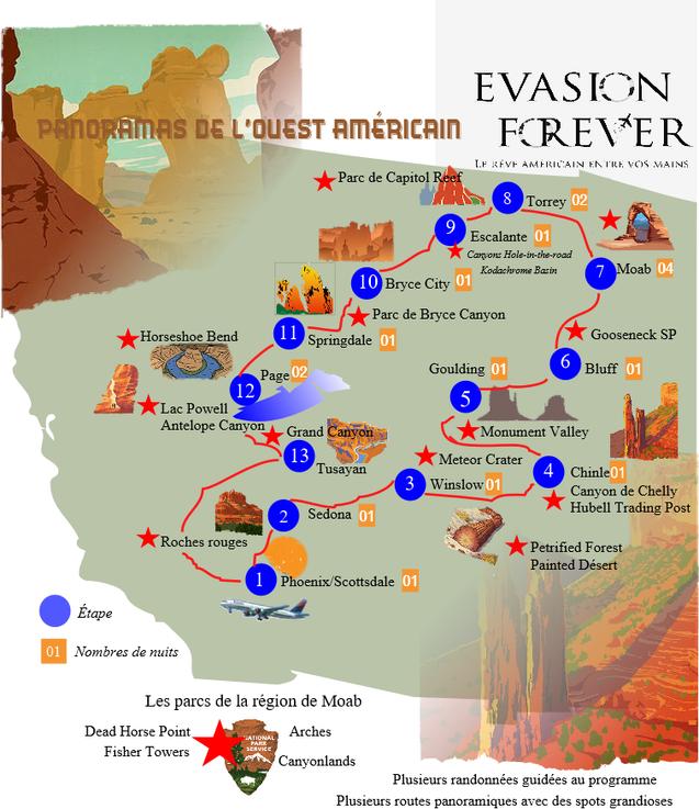 New Carte circuit panoramas de l'Ouest A
