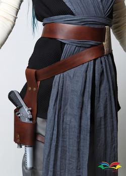 Rey Star War costume beltset closeup front