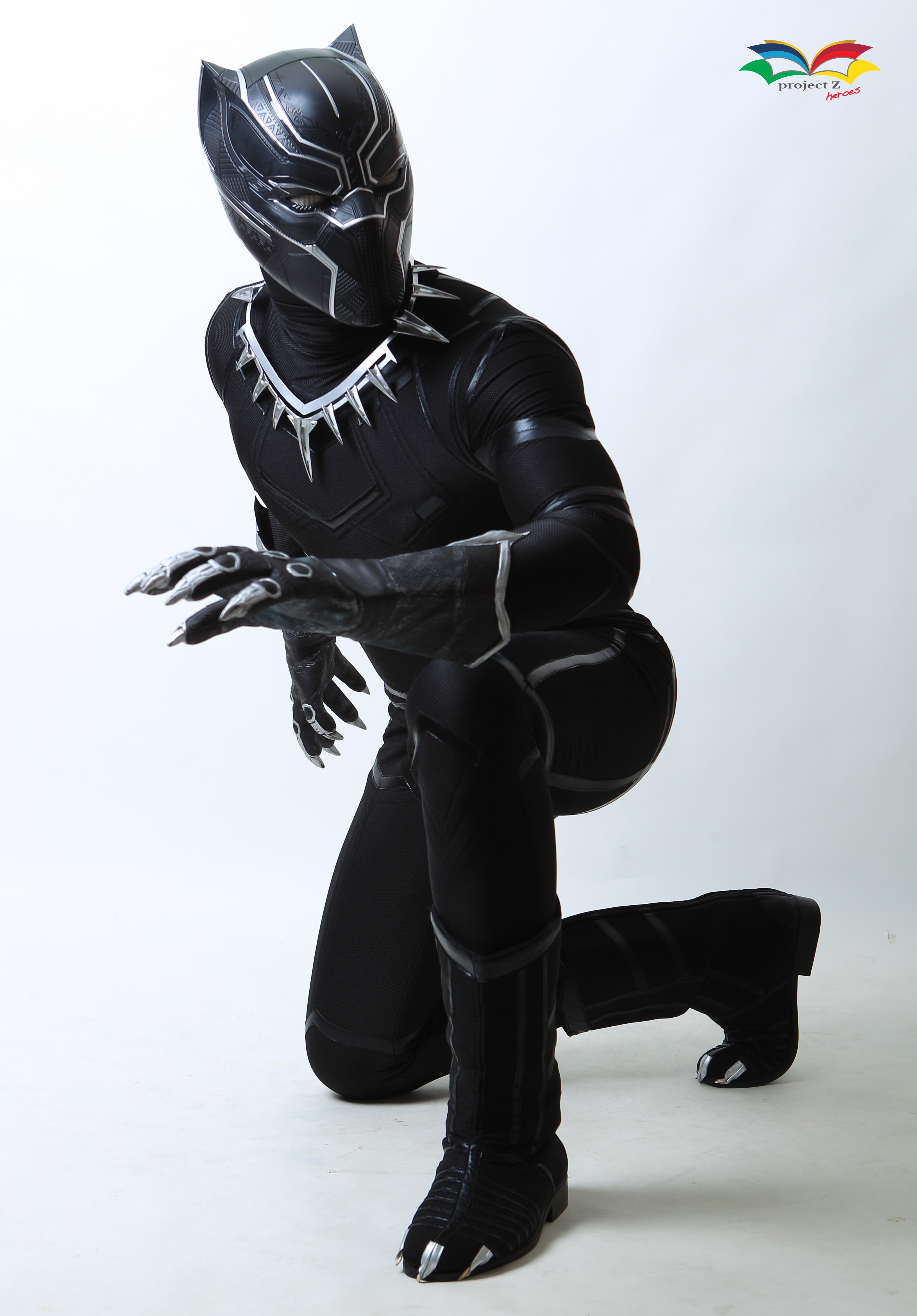 Black Panther costume sitting post fullbody