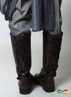 Rey Star War costume boots closeup back