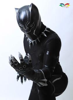 Black Panther costume sitting post closeup