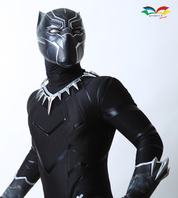 Black Panther costume closeup head sideway