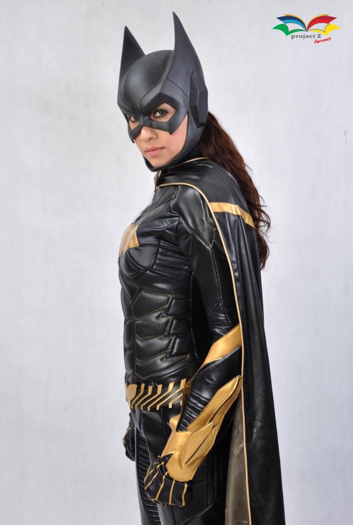 Batgirl costume sideway closeup
