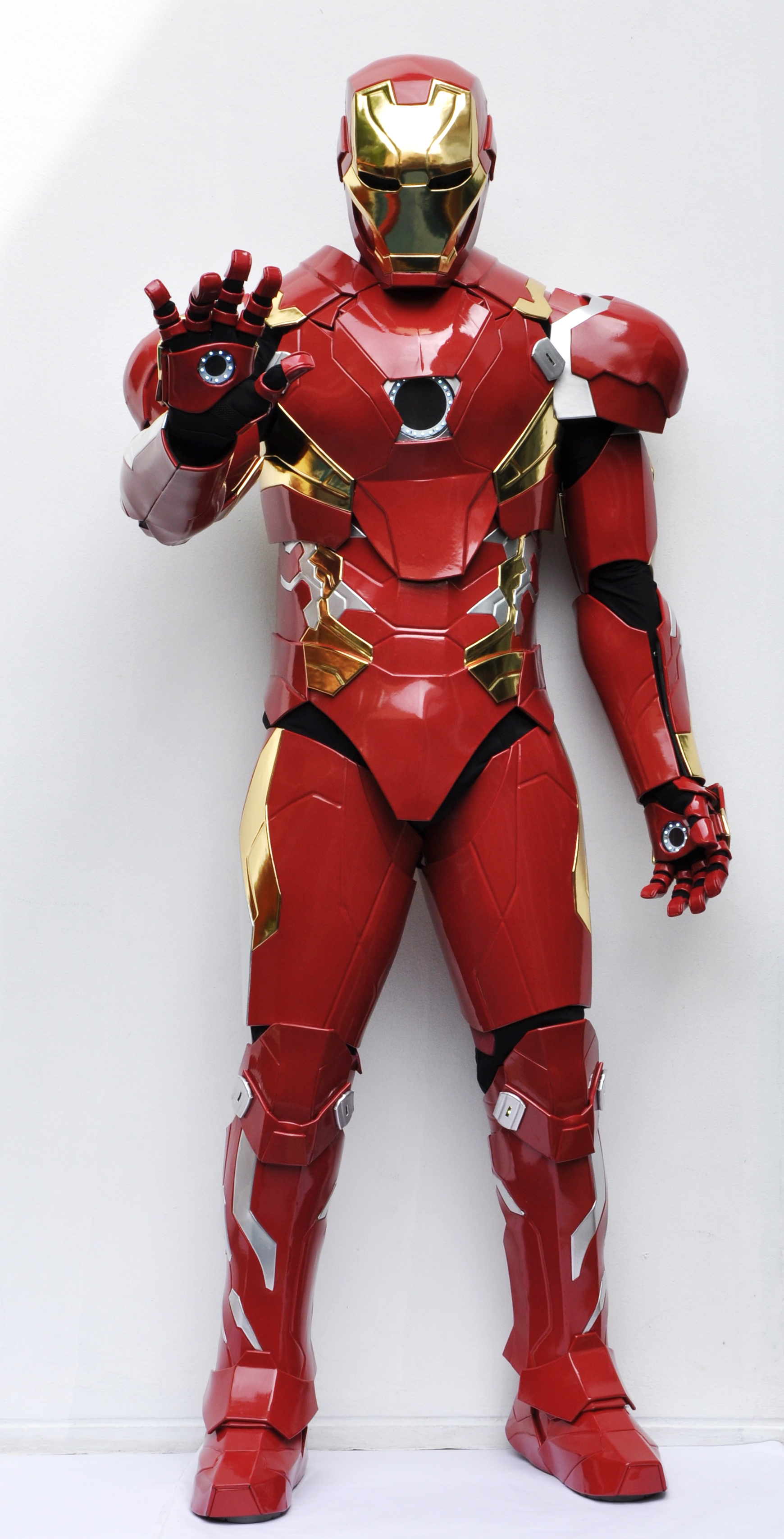 Ironman costume palmup front
