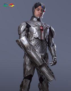 Cyborg costume low angle with gun