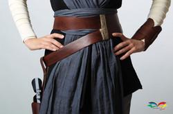 Rey Star War costume beltset front closeup