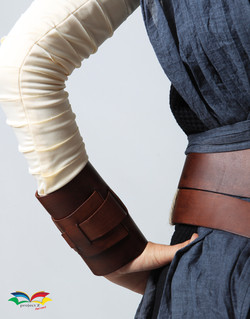 Rey Star War costume arm and wrist wrap closeup