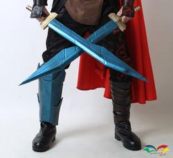 Thor Ragnarok costume lower part and swords closeup