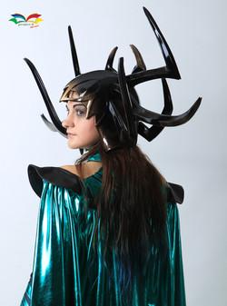 Hela costume closeup sideway head