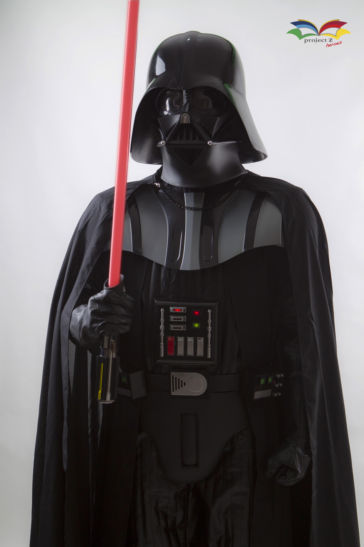 Darth Vader costume closeup with light saber