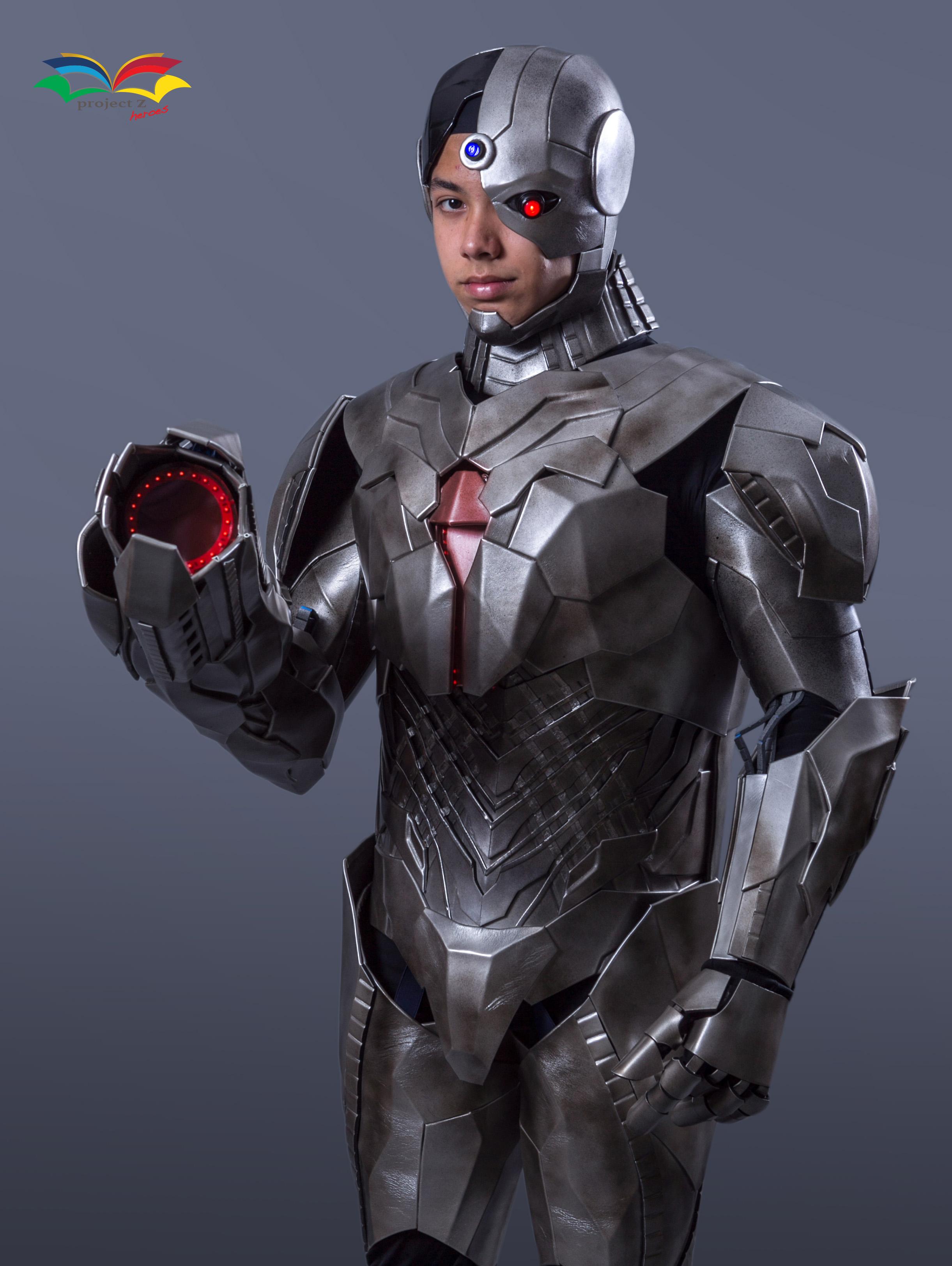 Cyborg costume closeup with gun