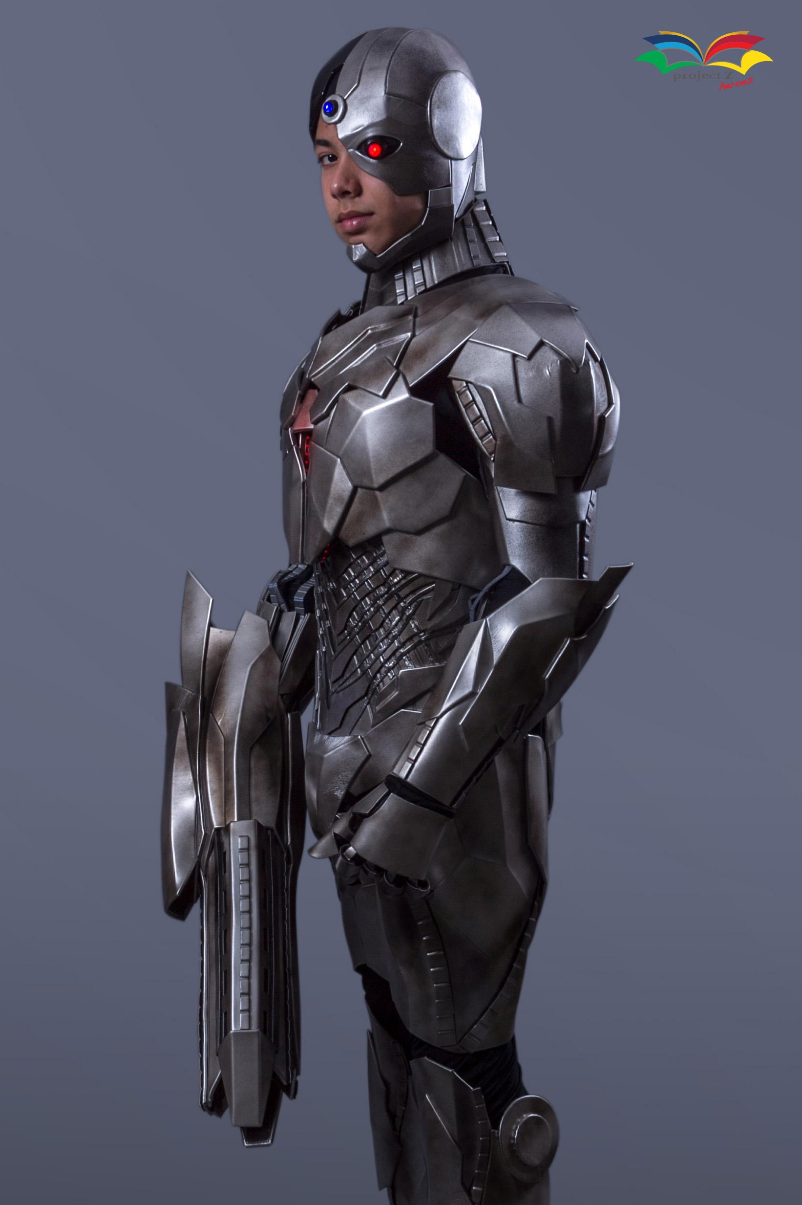 Cyborg costume sideway