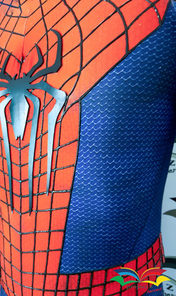 Spiderman costume detail closeup