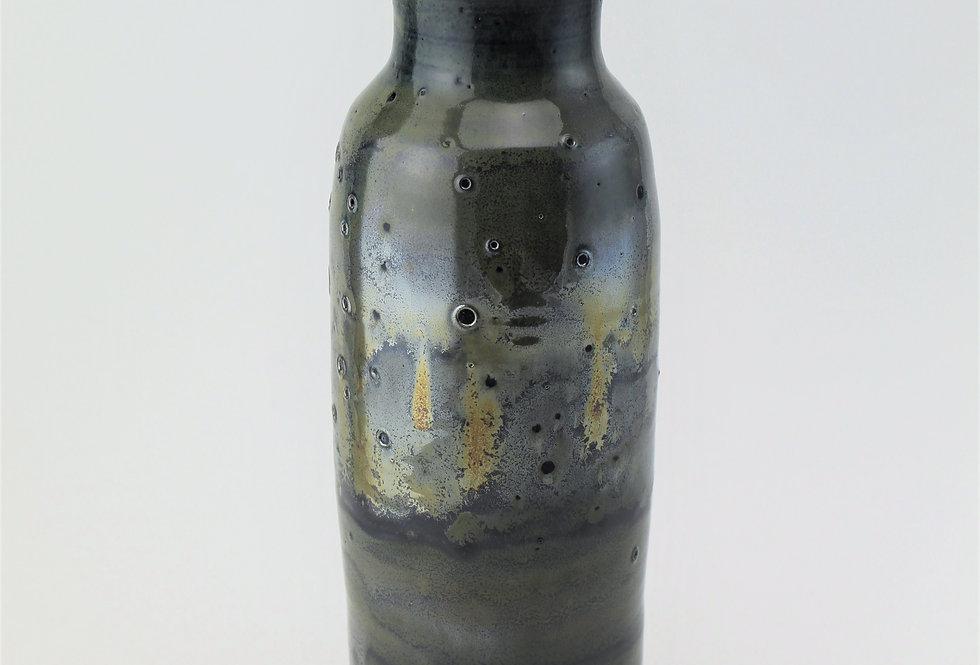 Metallic Vase with Eyelet Texture