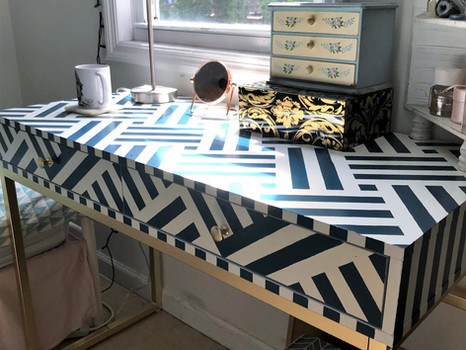 DIY Hand Painted Patterned Desk