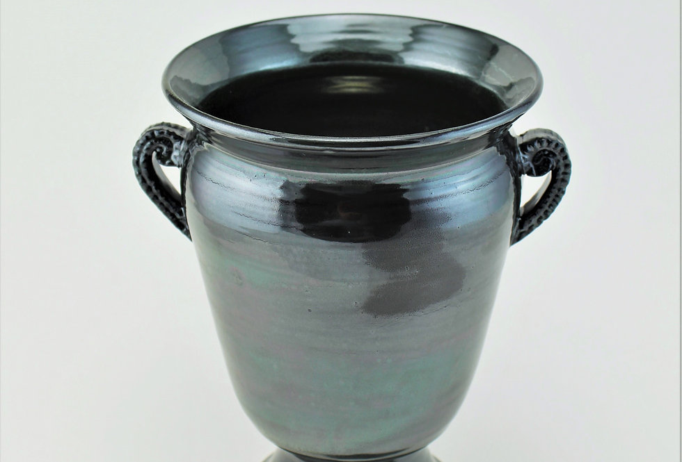 Metallic Urn with Carved Handles
