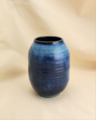 Blue and Black Stoneware Vase