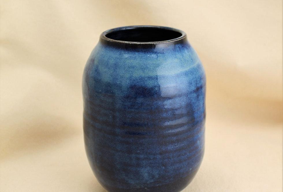 Blue and Black Stoneware Vase