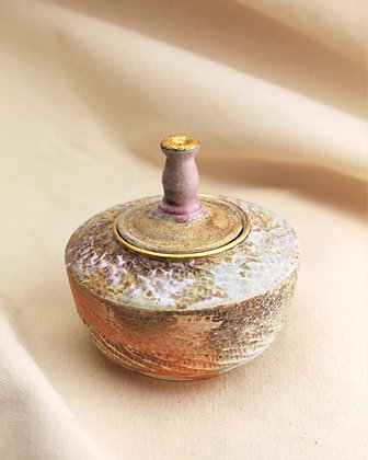 Wood Fired Jar with Gold Luster