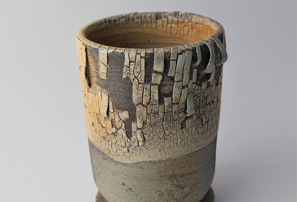 Wood Fired Pot with Crackle Slip